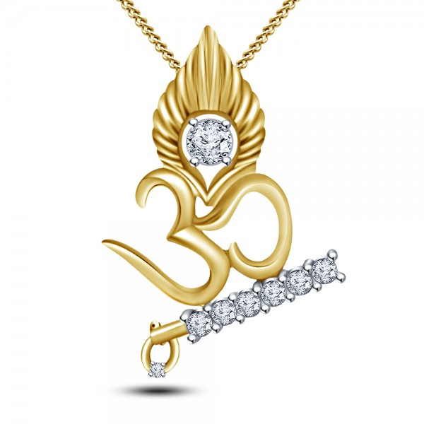 Lord Krishna Om Diamond Pendant