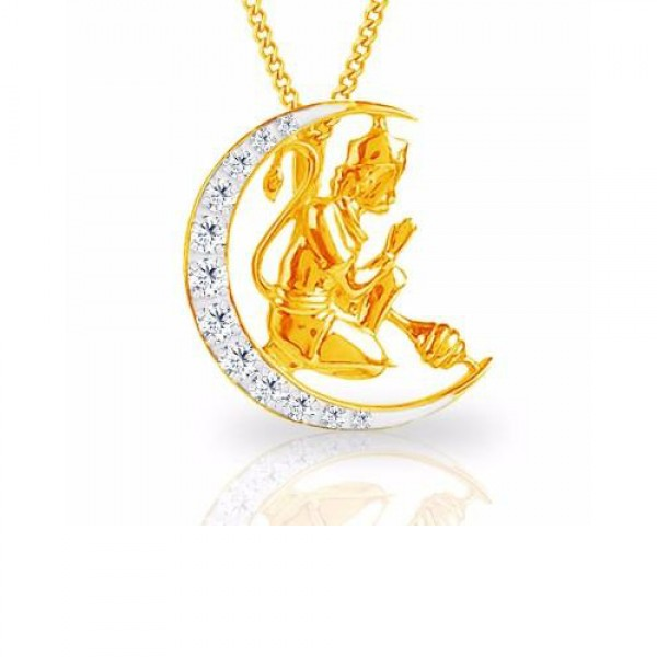 Lord Hanuman Diamond Pendant