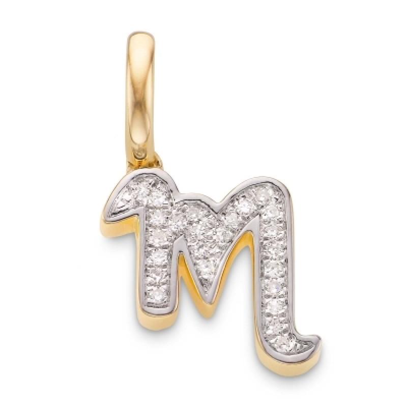 Diamond alphabet pendant m aloadofball Image collections