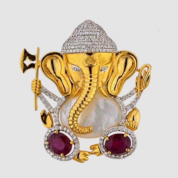 Ganesha Diamond and Ruby Figurine