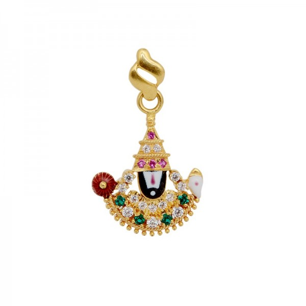 Lord Balaji Diamond Emerald Pendant