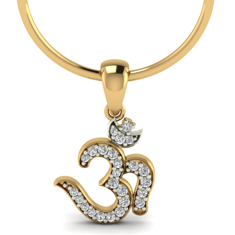 Latest Om Diamond Gold Pendant Design Set | Buy diamond jewellery ...